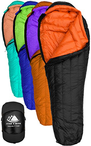 Hyke & Byke 800 Fill Power Gans Daunenschlafsack - Eolus -15 & -10 Grad F Ultraleicht Mumie Taschen für Backpacking (-15 Degree C (Black/Clementine), Regular)