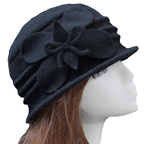 URqueen Women's Winter Fashion Vintage Wool Round Cloche Woolen Hat Black