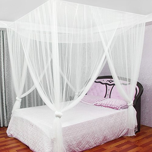 jtdeal mosquitera para cama 4 esquinas adecuado para cama individual o matrimonio anti. Black Bedroom Furniture Sets. Home Design Ideas