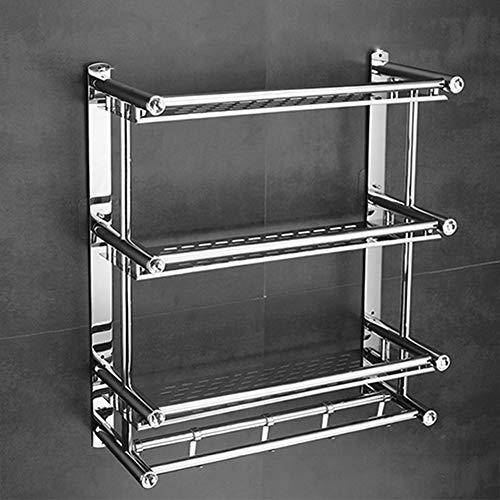 TYSYA Edelstahl-Badezimmer-Duschkabine Regal 1-3 Tier schwimmendes Handtuch-Rack mit Hooks Halteträger-Veranstalter,3tiers(60cm) (3-tier-regal)