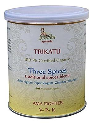 Organic Trikatu 108 Veggie Caps Pipali Indian Long Pepper Pier longum nigrum Black Pepper Ginger Zingiber officianale USDA Certified Organic by Gopala Organics
