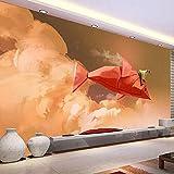 QBTE 3D Mädchen reitet auf Papier roter Fisch Selbstklebende Wand Wandbild Schlafzimmer Tapete 250 * 175cm