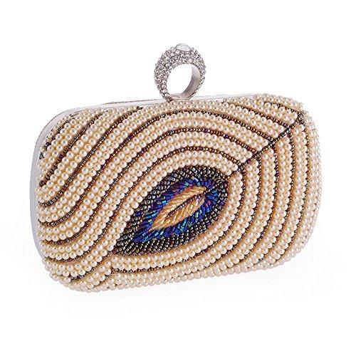 WZW Borsa del messaggero della frizione del banchetto delle donne di ricamo della perla . white champagne
