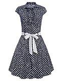ACEVOG Damen 50er Jahre Elegant Retro Polka Dots Flügelärmel Cocktailkleid Swing Kleider mit Gürtel A-Linie Knielang Hohe Taille Blau
