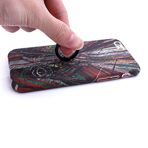 """iProtect Hardcase mit Ring Halter Marmor Design Schutzhülle in Schwarz mit Fingerhalterung für Apple iPhone 6 6s (4,7"""") Chaos bunt"""
