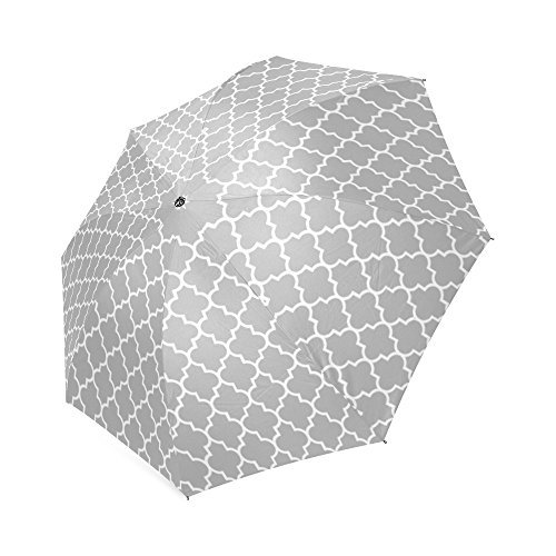 Gray Moroccan Trellis Quatrefoil Lightweight Rain/Sun Umbrella Folding Anti-uv, Wind-proof Travel Umbrella by Fashion Folding Umbrella