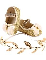 Malloom Bebe niñas brillo flor antideslizante suave bowknot zapatos de la zapatilla de deporte de los zapatos de niño +1pc Diadema