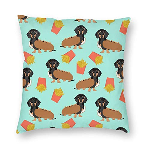 Dackel Hot Dog und Pommes Essen Funny Dog Kostüm Cute Dog Wiener Dog_63 Dekorative Kissenbezug Home Decor Kissenbezug Bunte 18x18inch (Dackel In Kostümen Bilder)