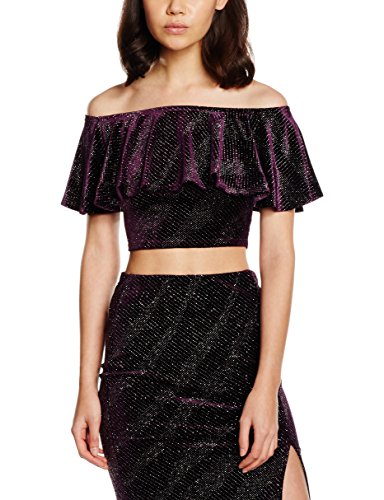 New Look Sparkle Velvet Bardot, T-Shirt Donna Purple