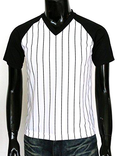 BCPOLO Herren Stripe V-Neck Shirt Sportlich Kurzarm T-Shirt Black