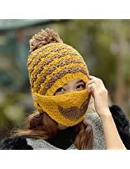 sombrero de invierno las mujeres más el sombrero de terciopelo gruesas máscaras calientes máscara de la máscara oreja fría ( Color : Amarillo )