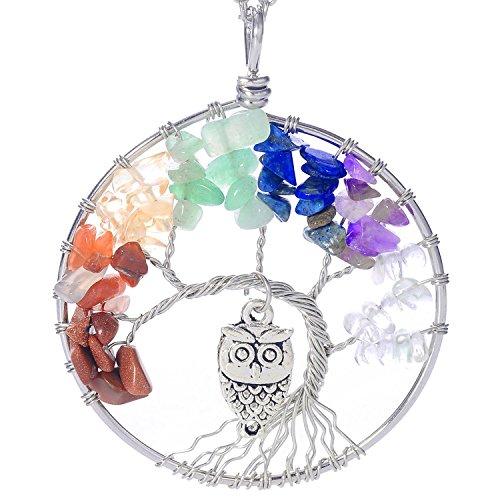 Luvalti Árbol de la Vida - Gemstone Chakra Joyería Colorido Búho Cadena de Plata Collar - Regalos del Día de la Madre