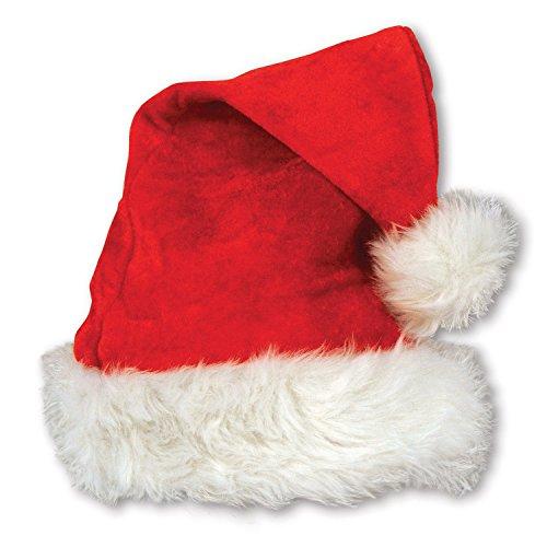 Beistle 1er Pack Samt Santa Hat Plüsch mit Besatz rot