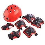 Giplar 7 in 1 Kit Protezione Set di Ginocchiere Gomitiere Polsiere Casco per Pattini a Rotella, BMX, Skateboard, Bicicletta