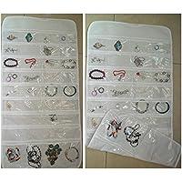 akimgo (TM) 72unidad bolsillo doble cara colgante bolsa de almacenamiento Organizador de joyas con soporte # 54746