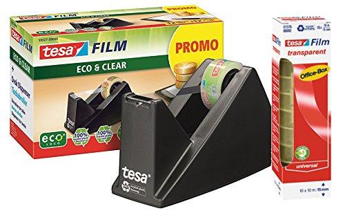 tesa Easy Cut Economy Tischabroller ecoLogo Longlife Pack (1, Set mit 10 Rollen Klebeband)