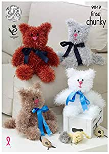 Tinsel Chunky Knitting Pattern Small or Large Bunny Rabbit Toys King Cole 9050