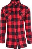 normani Holzfäller Hemd, Flanell Karohemd im klassischen Retro Look / 100% Cotton/Dicke Qualität [S - 3XL] Farbe Rot Größe XXL