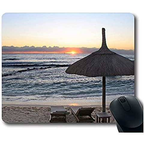 Sun Vigor Beach Chairs 3 Mouse Pad Oblunghe Shaped Natural Eco