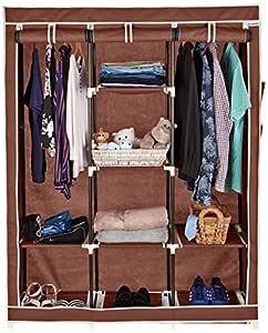 Amazon Brand - Solimo 3-Door Foldable Wardrobe, 8 Racks, Brown