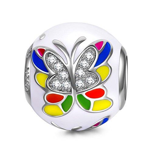 Ninaqueen farfalla sogno ciondolo bead da donna argento sterling 925 per pandora charms bracciale regalo compleanno natale san valentino festa della mamma regali anniversario per moglie madre sposa