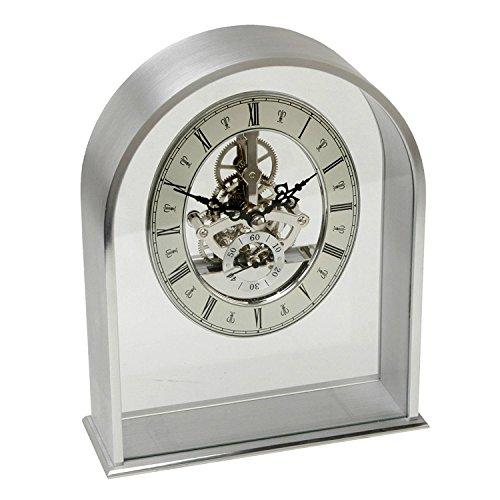 Alluminio ad arco orologio da tavolo con al quarzo con quadrante scheletro (Scheletro Orologio Da Tavolo)