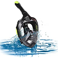 Zacro Snorkeling Mask Original Newest One-way Respiratory System Full Face Breathing Design, 180°View foldable Snorkeling Mask with Dry Top Set Anti-Fog Anti-Leak for Adult