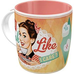 Nostalgic-Art 43018 Retro Kaffee-Becher Say it 50's - Do I look like i care?, Lustige große -Tee-Tasse mit Spruch, Geschenk-Idee für Vintage-Liebhaber, 330 ml