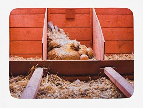 Tappetino da bagno per animali da fattoria, foto riproduttiva con gallina ovaiola che cova nella gabbia e uova, tappetino da bagno in peluche con supporto antiscivolo, mandorla bruciata Sienna Blush