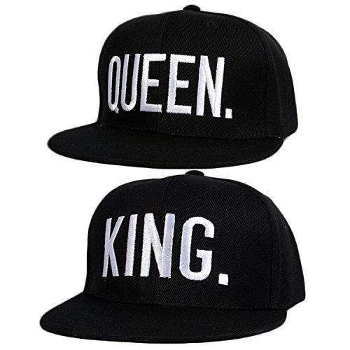 *Sinto 2 Stück Schutz UV verstellbar Baseball Caps/Liebhaber Paare Baseball Caps mit Königin und König Buchstabe*