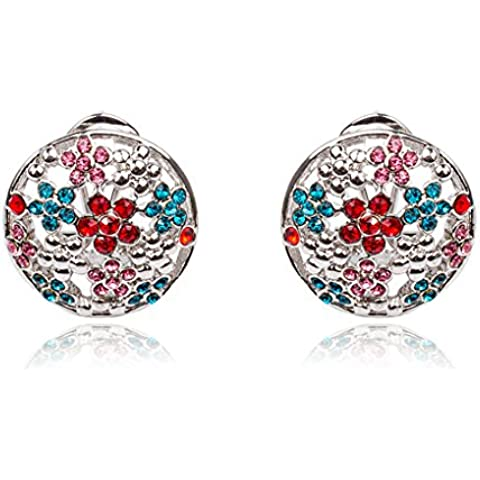 Vollter Colorati cristalli austriaci colorati Plum Blossoms oro Eearrings donne placcato