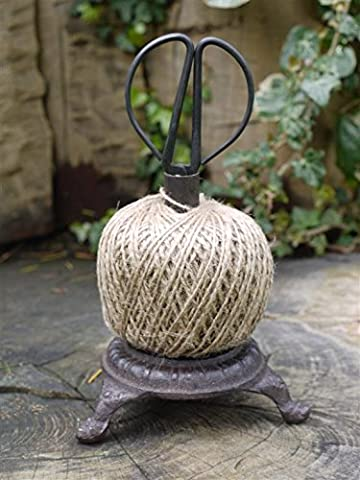 Garden String Dispenser Antique Style Cast Iron Base Rustic Finish Twine with Scissor Set Two Types