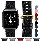 Fullmosa kompatibel Apple Watch Armband 42mm und 38mm, Echtes Leder Uhrenarmband iWatch Ersatzband für Apple Watch Series 3,2,1, Nike+ Hermes&Edition,Schwarz+oldene Schnalle+schwarzer Adapter 42mm