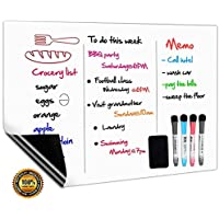 Magnetic Whiteboard Fridge White Board A3+ for Home Kitchen Menu Meal Shopping List,Reminder Notice Memo Board Daily Weekly Planner,Kids Drawing and Dry Wipe Magnet Boards,4 Marker Pens and 1 Eraser