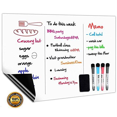 Tableau Blanc Magnétique A3+ Pour Frigo,Cuisine Menu Liste des Courses,Rappel Quotidien Planifier,Gribouillis des Enfants Tableau Aimanté,Flexible Effaçable à sec Tableaux Mémo,4 Marqueurs 1 Effaceur