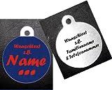 Anhänger fürs Halsband rund (Kreis) personalisiert mit Rückseite m. z.B. Name Telefonnummer Adresse ... zweiseitig bedruckt Hundemarke f. Hundehalsband Katzenhalsband Kette DogTag grau, orange, blau, lila, gelb, hellgrün, pink, beige, dunkelblau, rosa, grün, hellblau, rot, braun, violett, schwarz, weiß, silber