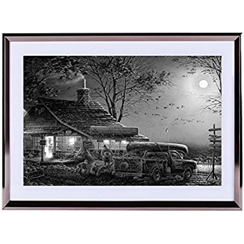 Terry Redlin. Tradiciones de otoño–Póster para la pared Silvery madera enmarcada 16x 12pulgadas, color blanco y negro