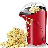 PREUP Macchina pop corn, Macchina per Pop-corn Senza BPA, Aria Calda senza Olio, Coperchio Rimovibile 1,76 oz Grande Capacità, 1000W macchina per popcorn per Teatro domestico