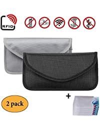 Newseego 2X RFID Signal Blocker Pouch | 5X Free RFID Credit Card Sleeves | Anti Theft Faraday Bag for Car Key Fob…