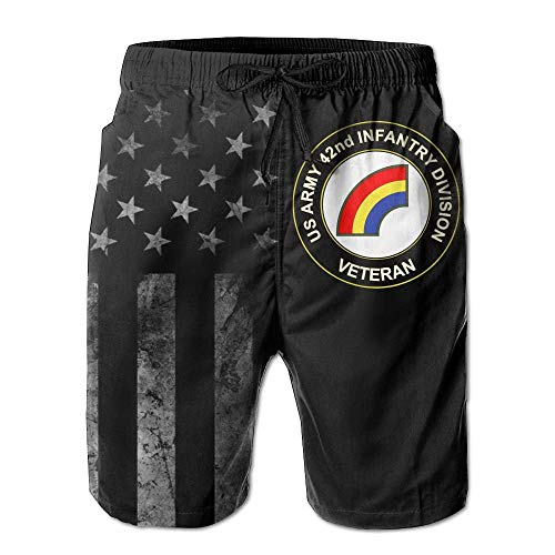 Pillow Socks US Army 42nd Infantry Division Veteran with American Flag Men's Beach Shorts Swim Trunks - Swimsuit Athletic Shorts XL Capezio Capris