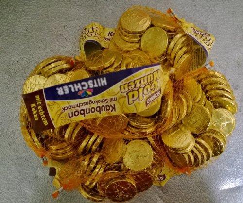 Hitschler Schoko-Goldmünzen 5 x 150g. Netze / Das Original