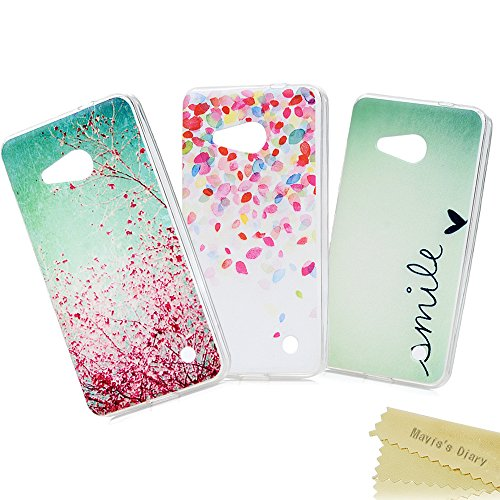 Price comparison product image Nokia Lumia 550 Case Cover - Mavis's Diary 3 Pieces Clear TPU Rubber Soft Flexible Slim Cover with Stylish Printing Series Case for Nokia Lumia 550 ( 3 Pcs - Design 6 )