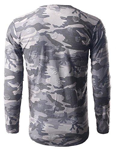 LIANIHK Mode Herren T-Shirt mit Rundhalsausschnitt Persönlichkeit Tarnung Basic Tops Grau