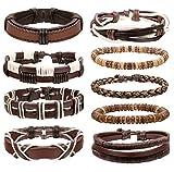BE STEEL 9PCS Geflochtene Armband Leder Wrap für Männer Holzperlen Armbänder Handmade Vintage, Einstellbar
