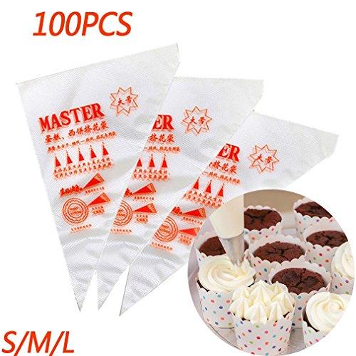 Plastica pasticceria borse, glassa sac à poche usa e getta per biscotti e torte, adatta a tutte le dimensioni ugelli punte kit e attacchi
