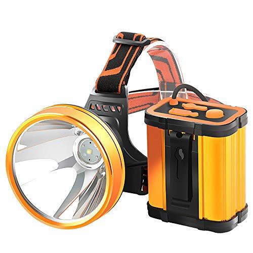 H.L Faro ultrabrillante, lámpara de mineros a Prueba de Agua con diseño de Tipo Dividido 12800Mah, batería Grande, para Acampar, Excursionismo, Pesca con Mochila y ETC