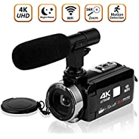 Camcorder Video Camera 4K Ultra HD Camcorder Camera Wifi Digital Camera 3.0 inch Touch Screen Night Vision Vlogging Camera with External Microphone