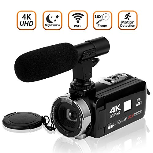 Camcorder Videokamera 4K Ultra HD Camcorder Kamera WiFi Digitalkamera Videokamera mit Mikrofon 3,0 Zoll Touchscreen Nachtsicht Vlogging