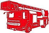 plot4u Wandtattoo Feuerwehr Löschzug in 9 Größen und 19 Farben (60x40cm hellrot)