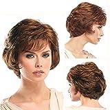 Court Cheveux Perruques Bouclé avec Frange Synthétique du Quotidien Fête Perruque pour Femmes Naturel comme Réal Cheveux + Gratuit Perruque Casquette 10'', 001